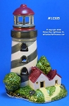12305 Lighthouse Tea Light Holder, Ceramic, Black Stripes