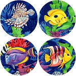 AS535 Coasterstone Coasters Tropic Lagoon Assortment Set of 4