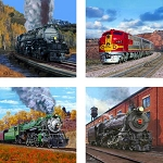 AS1950 Coasterstone Coasters Trains Assortment Set of 4