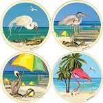 AS2300 Coasterstone Coasters Beach Birds Assortment Set of 4