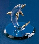 Glass Dolphin Figurine by Glass Baron, 1-3/4