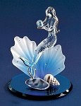Mermaid On Blue Coral Glass Figurine by Glass Baron, #S3 260