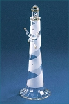 Glass Spiral Lighthouse Figurine With Seagull by Glass Baron, 6-1/2
