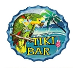 Parrot Tiki Bar Metal Bottle Cap Wall Sign.  9-3/4
