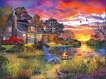 Evening Cabin Jigsaw Puzzle, 1000 pc., by White Mountain Puzzles, #1417PZ