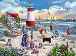 Lighthouse Beach Jigsaw Puzzle, 550 pc., by White Mountain Puzzles, #1478PZ