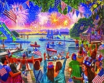 4th Of July Fireworks Jigsaw Puzzle, 1000 pc., by White Mountain Puzzles, #1585PZ