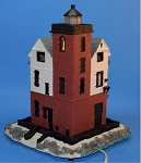 Illuminated Round Island, Michigan Lighthouse - Nautical Light by Scaasis
