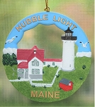 Scaasis Round Ornament, Nubble Lighthouse, Cape Neddick, Maine, #SC114RO