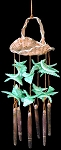 Tiny Basket Shell Windchime w/Green Cut Litob