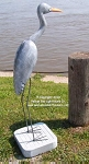 3750120 Large Blue Heron on Stand, Carved Wood, 50