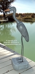 3750121 Small Blue Heron on Stand, Carved Wood, 39
