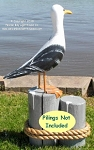 3753100 Large Seagull Without Pilings - Carved Wood