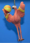 Pink Flamingo On The Beach Ornament, With Beach Ball