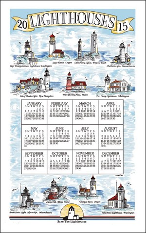 2015 Calendar Towel, Lighthouses, F3277