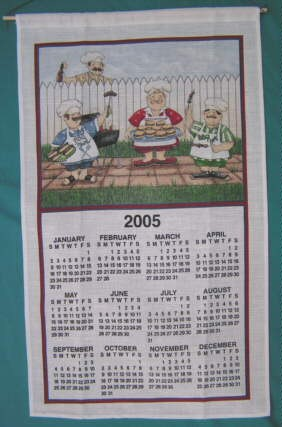 "82-779 Calendar Towel, Barbecue Guys, 16"" x 27"", 2005"