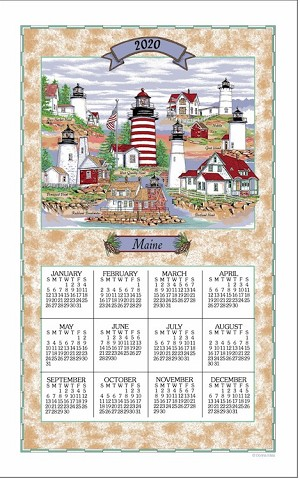 "Calendar Towel, Maine Lighthouse Collage, 17"" x 27.5"",  2020"