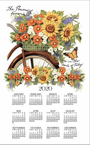 "4620343 Calendar Towel, Bicycle Floral, 17"" x 27.5"",  2020"