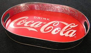66813 Coca-Cola Tin Large Serving Tray Red