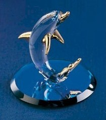 "Glass Dolphin Figurine by Glass Baron, 1-3/4"", S0 280G-B"
