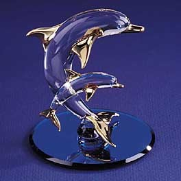 Glass Dolphin With Baby Figurine by Glass Baron, 2-3/4""