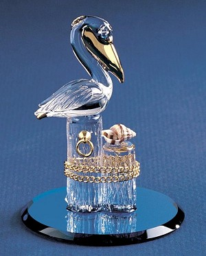 Pelican On Pilings Glass Figurine by Glass Baron