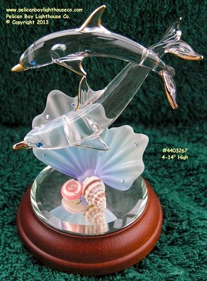 WB3 267 Glass Baron Dolphin With Baby 4-1/4""