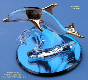 S4 287G-B Glass Baron Dolphin On Glass Base 2-3/4""
