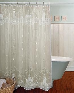"Lighthouse White Lace Shower Curtain,  72""x72"", By Heritage Lace"
