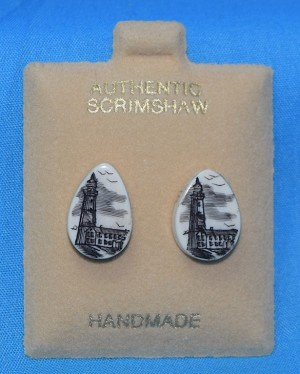 Scrimshaw Lighthouse Oval Earrings, #JPE-3