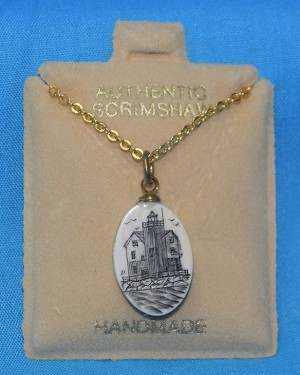Scrimshaw Lighthouse Pendant With Gold Chain, #PD-1