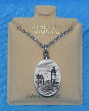 Scrimshaw Lighthouse Pendant With Silver Chain, #PD-1