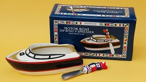 Ceramic Motor Boat Dip Bowl & Spreader