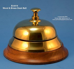 "B-4414 Brass & Wood Desk Bell, 4-1/2"" Wide"