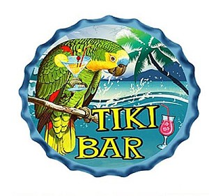 "Parrot Tiki Bar Metal Bottle Cap Wall Sign.  9-3/4"" diameter"
