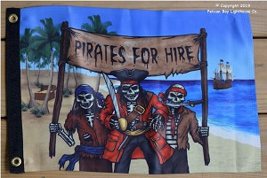 "Pirate Flag, Pirates For Hire,  12"" x 18"""