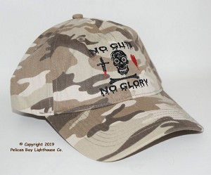 Pirate Embroidered Camo Hat, No Guts No Glory
