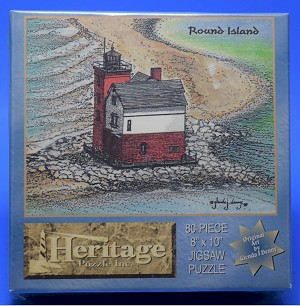 Round Island Lighthouse Jigsaw Puzzle, 80 pc, by Heritage