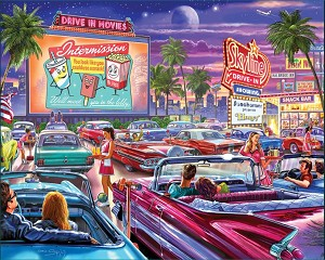 Drive-In Movie Jigsaw Puzzle, 1000 pc., by White Mountain Puzzles