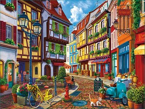 Old World Street Jigsaw Puzzle, 550 pc.