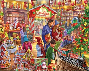 Christmas Sweet Shop Jigsaw Puzzle, 1000 pc., by White Mountain Puzzles