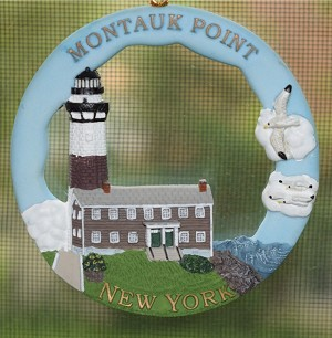 Scaasis Round Ornament, Montauk Lighthouse, New York