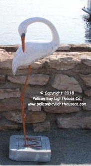 "3750140 Large Great White Heron, Curved Neck, Carved Wood, 44"" Tall"